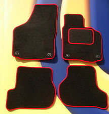 VW GOLF MK4  97 - 04 BLACK CARPET CAR  MATS WITH RED EDGE & 4 ROUND CLIPS