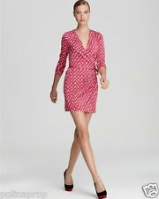 DVF Diane von Furstenberg Callista silk wrap dress Dash Weave Magenta US 8 $375