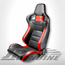 SPORT STYLE RECLINABLE RACING SEAT DIVER SIDE BLACK / RED LEATHER - UNIVERSAL