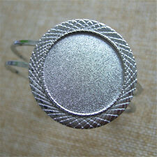 New Silver Cuff Bangle Bracelet Settings Bracelet Blanks Base Fit 30mm Round Gem