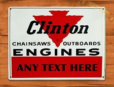"TIN-UPS TIN SIGN ""Clinton Outboard Custom Sign"" Rustic Engine Repair Wall Decor"