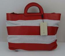 New Burberry Canbera Canvas Leather Beige/Red Tote Crossbody $995