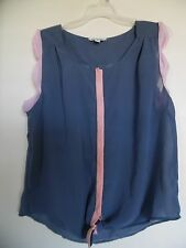 American Eagle Outfitters Blue Pink Sheer Top Woman's Size XL