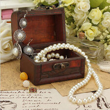 Vintage Jewelry Necklace Bracelet Storage Organizer Wooden Case Gift Box