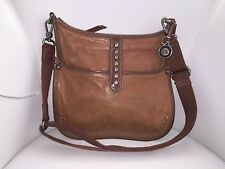 THE SAK Soft Brown Leather - Rivet Details -  Convertible Crossbody Shoulder Bag