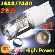 1 Super White 30W High Power 7443 LED Projection Tail Brake Stop Light Bulb 7440