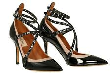 NEW VALENTINO GARAVANI LOVE LATCH BLACK PATENT STRAPS HEELS PUMPS SHOES 40/US 10