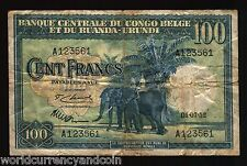 BELGIAN CONGO BELGIUM 100 FRANCS P25 1952 OX ELEPHANT CURRENCY MONEY BILL NOTE