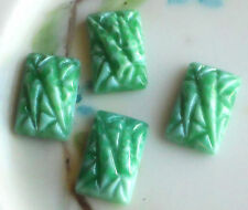 #815R Vintage Cabochons 15x9mm Baroque Rectangle Pressed Jade Green Etched NOS