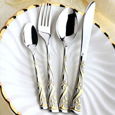 48 Pcs 18/10 Stainless Steel 18K Gold Plated Cutlery Dinnerware Set Royal Style