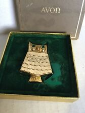 AVON OWL PIN Solid Perfume Glace Compact 1968 brown box Emerald Eyes Book Piece