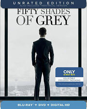 Fifty Shades of Grey (Blu-ray/DVD, 2-Disc Set,Steelbook