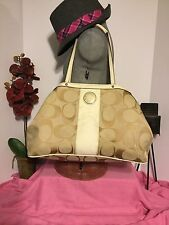 Coach Signature Stripe Framed Light Khaki / White Trim Leather Carryall Handbag