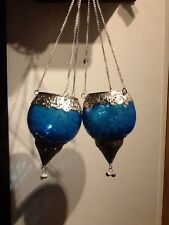 Pair Of Indian  Hanging Glass Lamps  Moroccan Style Tea Light Holders Light Blue