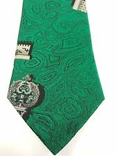 Fornasetti Milano 100% Silk Tie Made in Italy Green with Old Key Design