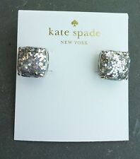 KATE SPADE Silver Plated Square Silver Metallic Glitter Stone Stud Earrings NEW