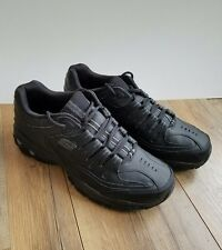 50127 Black Skechers After Burn Memory Fit Glow Logo Shoe Men Sport Leather