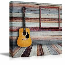 """Canvas Prints - Guitar and Picture Frame in Vintage Wood room - 24"""" x 24"""""""