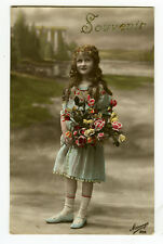 c 1916 Children Kids YOUNG GIRL w/ Long Hair tinted French photo postcard