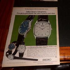 Advertising Italian Pubblicità Werbung: 1977 seiko quarz ultrapiatto ottimo