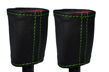GREEN STICH 2X FRONT SEAT BELT BUCKLE LEATHER COVERS FOR HOLDEN COMMODORE VR VS