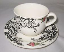 Gien ESQUISSE, Single Rosebud, Black & White, France, Cup & Saucer Set