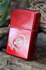 Zippo Lighter - Harley Davidson - Harley Heart - Candy Apple Red - Model # 21079