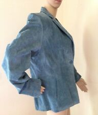 Alfani EXTRA LARGE Blue Suede Leather Jacket Coat Womens XL