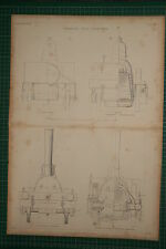1855 LARGE LOCOMOTIVE PRINT ~ SINCLAIR'S TANK SECTION FIRE BOX ELEVATION SMOKE