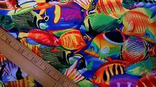 Cotton Timeless Treasure fabric brightly coloured tropical fish FQ quilting