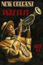 Jazz New Orleans Festival Trumpet Music Vintage Poster 12x16 Repro FREE S/H