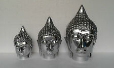Aluminium Buddha Head Set of 3 pieces Sculpture Statue Figurene f