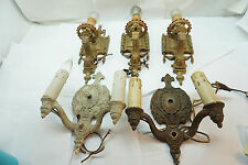 ANTIQUE WALL SCONCE LOT 5 PC LIGHT FIXTURE LIGHTING WALL MOUNT ELECTRIC CANDLE