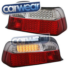 BMW E36 3-SERIES 2DR CLEAR RED CRYSTAL LED TAIL LIGHTS