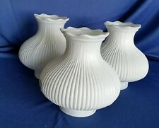 3 Vintage White Matching Milk Glass Lamp Shades Ribbed Mid Century Replacement