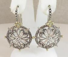 Barbara Bixby Sterling Silver 18k gold Circle Medallion White Topaz Earrings
