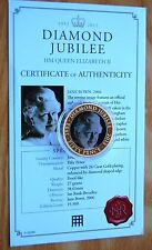 Jersey 2011 Diamond Jubilee Bown Photo Portrait Gold Plated 50p Crown Coin COA #
