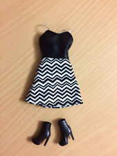 Barbie Doll Fashionistas Clothes Black White Zig Zag Chevron Dress Boot Outfit