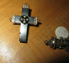 VICTORIAN Jet MOURNING CROSS 14K GOLD PIN Brooch Seed Pearls Antique Vintage Old