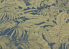 "P KAUFMANN STRAW MARINE BLUE TROPICAL FERN FURNITURE FABRIC BY THE YARD 54""W"