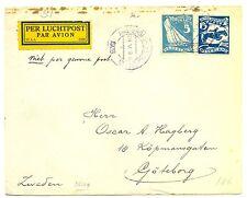 NEDERLAND 1928-5-24  OLYMPIADE 5C + 15 C ON CV TO SWEDEN  FRAAI