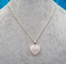 Lovely Natural Rose Quartz Heart Pendant Silver Chain Necklace + Gift Box