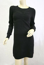 "$$$ BCBG BLACK ""OFH15450""  LONG SLEEVE CABLE RIB KNIT SWEATER DRESS NWT M"