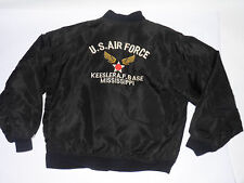 GENUINE USAF AVIREX BLACK NYLON FLIGHT JACKET! EMBROIDERED! KEESLER AFB! USA! L