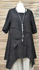 LAGENLOOK BEAUTIFUL LINEN APPLIQUE A-LINE SUMMER TUNIC**BLACK**BUST UP TO 46""