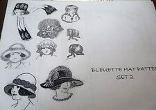 "SET TWO ~ HAT PATTERNS FOR BLEUETTE OR 11"" FRENCH OR GERMAN DOLLS"