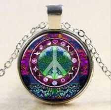 Vintage Peace Sign Cabochon Tibetan silver Glass Chain Pendant Necklace