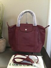 Longchamp Le Pliage Cuir Small Leather Satchel In Maroon