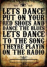 David Bowie Lets Dance Pop Poster Music Love Lyrics A4 Quote Word Wall Art Print