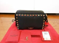 New Auth $475 Valentino Rockstud Small Nylon Zip Travel Case Clutch, Black